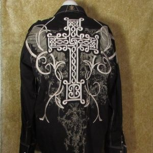 Roar Button up Size XL Large Cross on back
